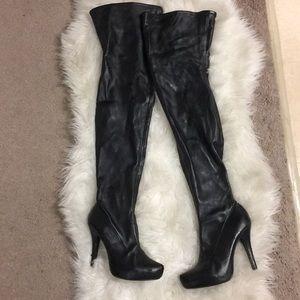 Shoes - Thigh High Faux Leather Boots